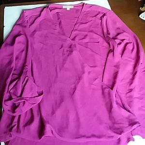 Anthropologie Pleione quarter sleeve drape blouse